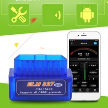 Yenilikçi Mini taşınabilir ELM327 V2.1 OBD2 II Bluetooth teşhis araba oto arayüz tarayıcı mavi Premium ABS teşhis aracı