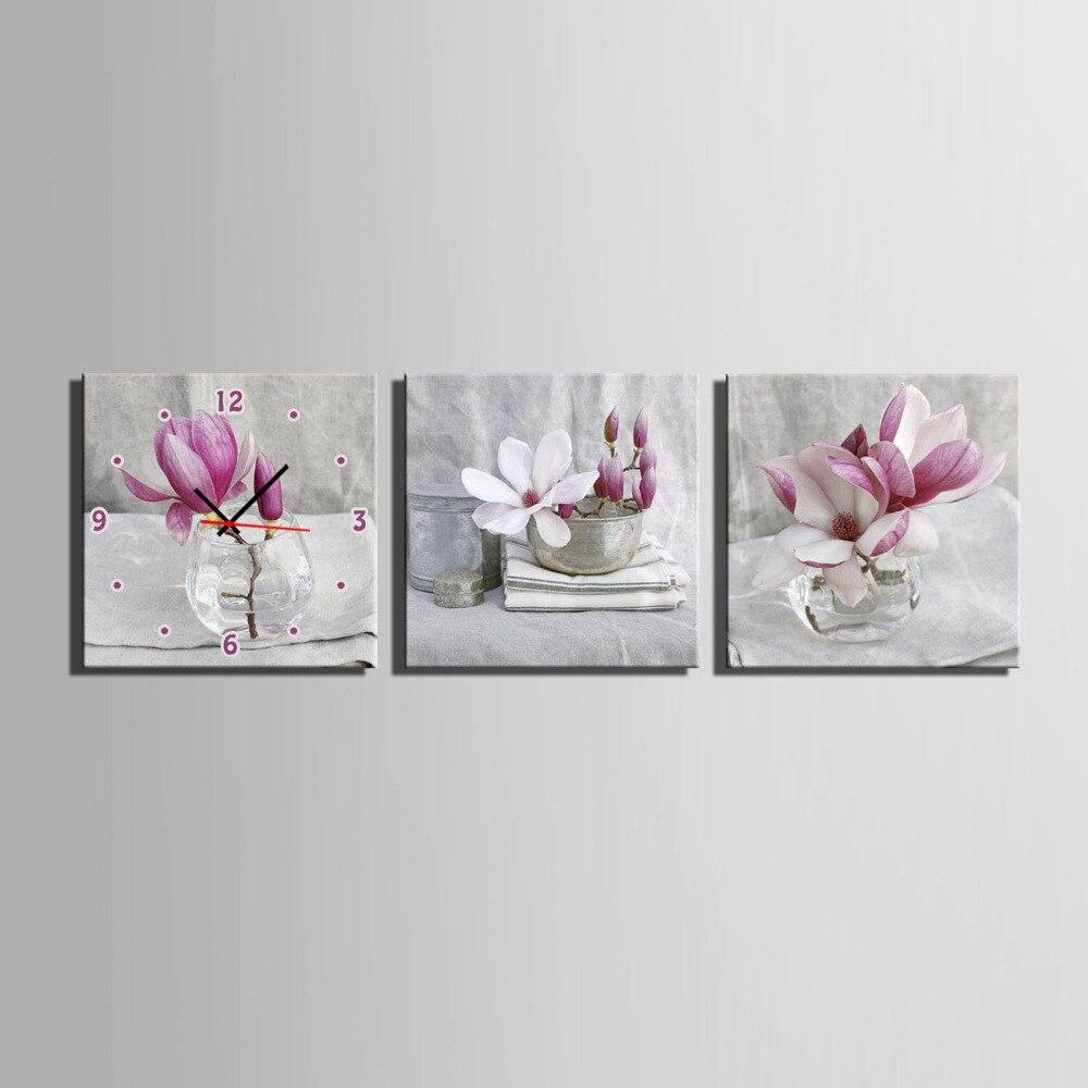 Envío Gratis E-HOME orquídea de Jade rosa en una Reloj en lienzo de cristal 3 uds Reloj de pared