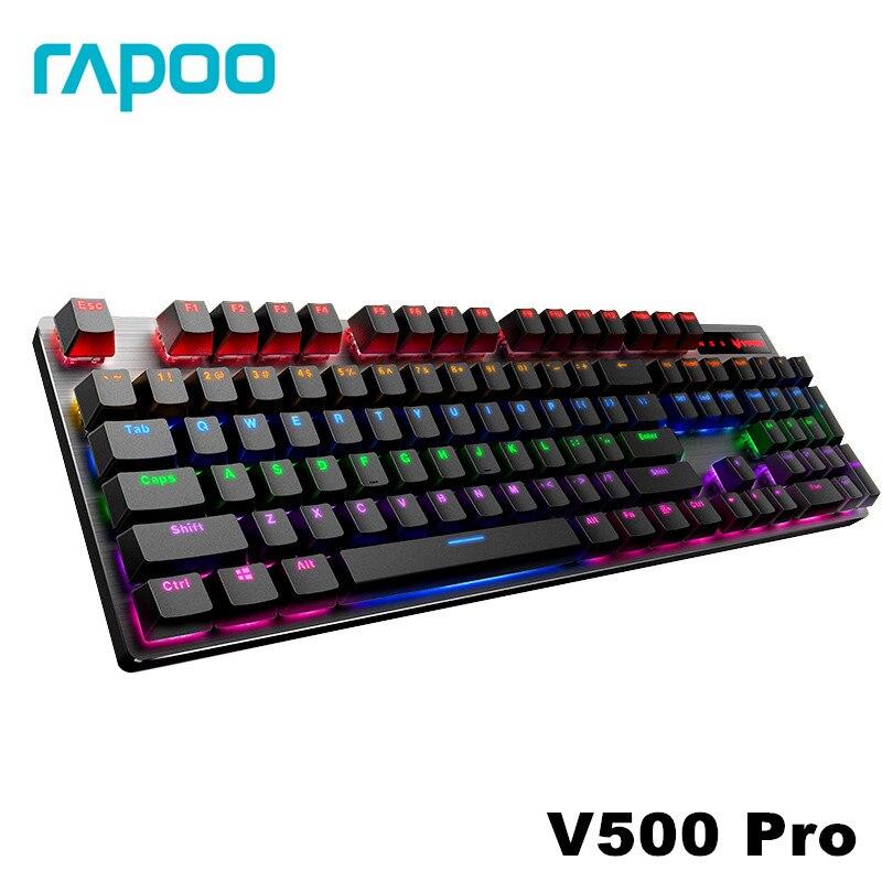 Rapoo V500 סגסוגת גרסה משחקים מכאניים מקלדת Teclado עם USB מופעל עבור משחק מחשב מחשב שולחני שחור/חום/כחול