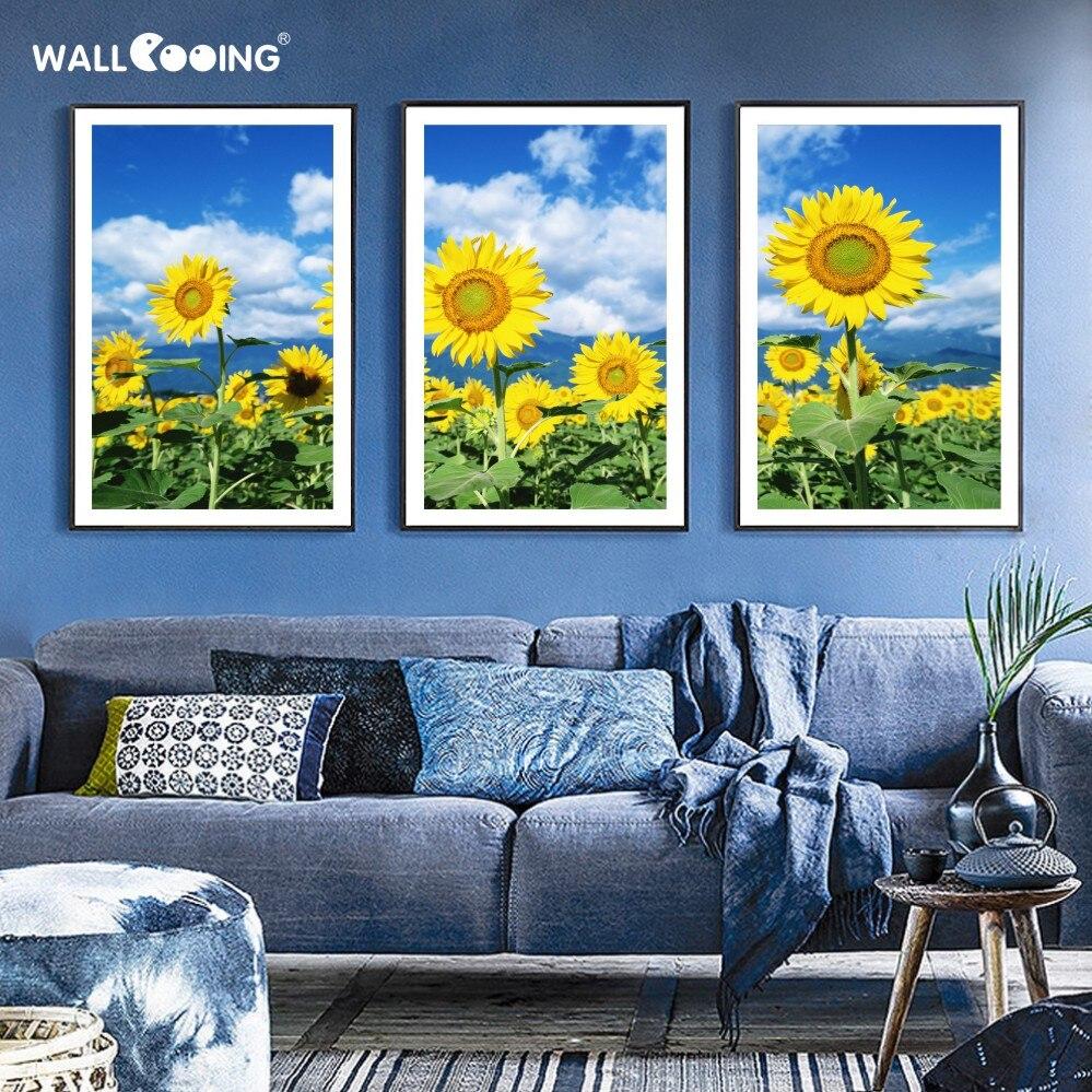 3 piezas pintura en lienzo moderna flor rusa girasol pinturas amarillas decoración del hogar imágenes modulares arte de la pared nuevo producto