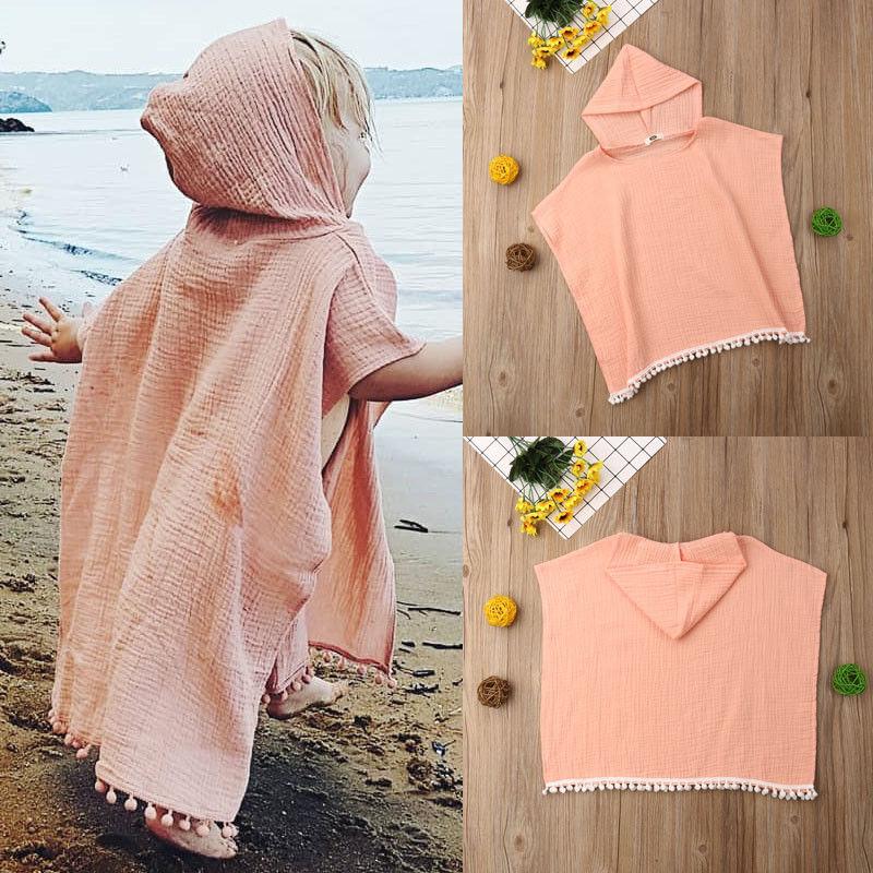 Niño niños bebé niña capa larga con capucha borla Poncho manto de Jersey ropa