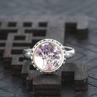 romantic collares purple dried flower glass real solid 925 sterling silver ring long gold color ring jewelry women 2017