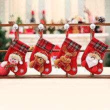 1PC noël bas suspendus arbre de noël décoration ornements nouvel an bonbons sac cadeaux chaussettes bas noël ornement S35