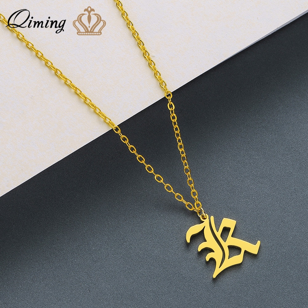 Qiming colar de aço inoxidável feminino masculino jóias placa de identificação inicial k carta colares pingentes presente dos amigos do sexo masculino