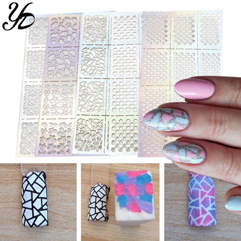 Yiday 5 stücke Unregelmäßigen Hohl Muster Nagel Schablone Stanzen Transfer Guide Vorlage Platte Maniküre Nägel Kunst Aufkleber DIY Einfach Verwenden