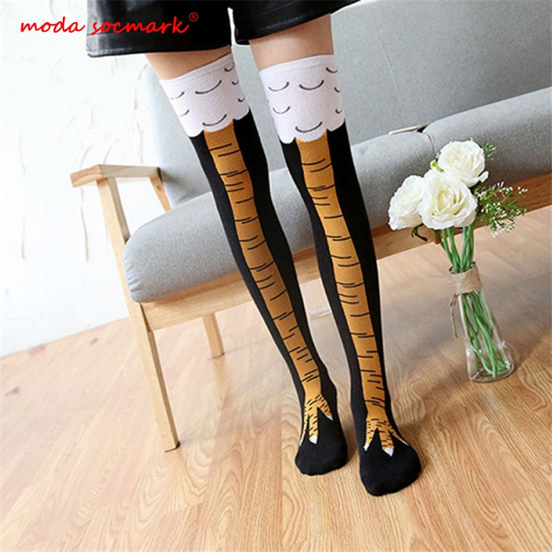 High Quality Creative Chicken Women Over the Knee Socks Cartoon Cotton Chicken Claw Ladies 3D Print
