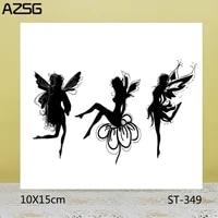 azsg fairy in flowers stampsseals for scrapbooking diy card makingalbum silicone decoration crafts 1015cm