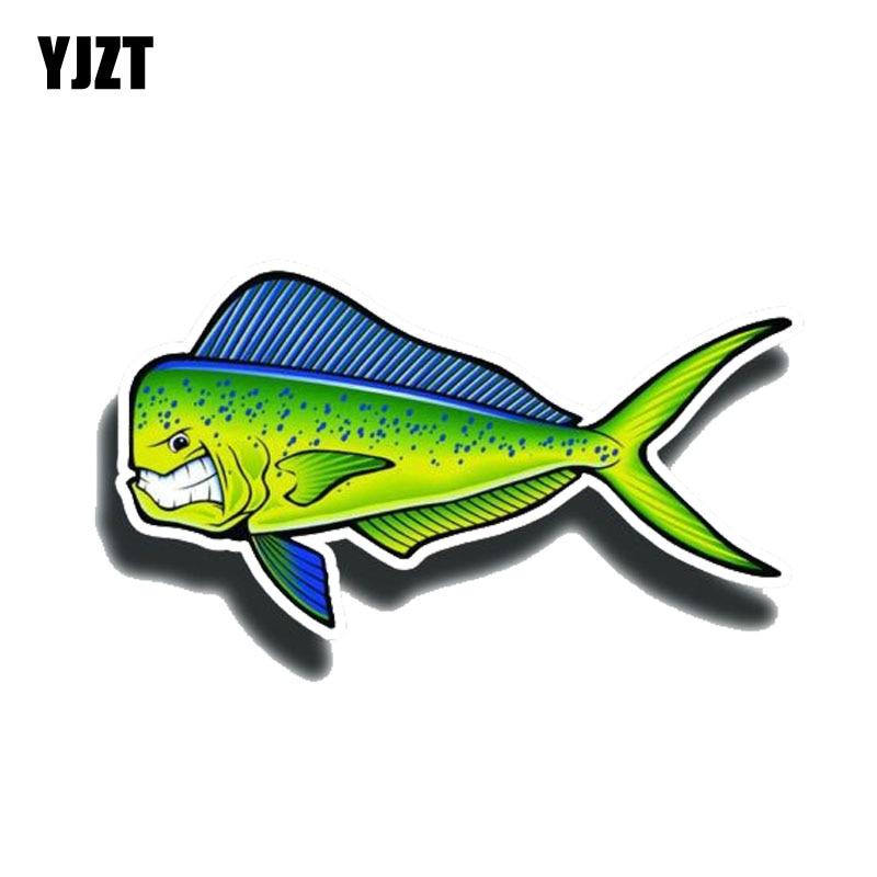YJZT 15CM * 8CM creativo enojado Mahi pescado reflectantes coche etiqueta engomada etiqueta de PVC 12-0650