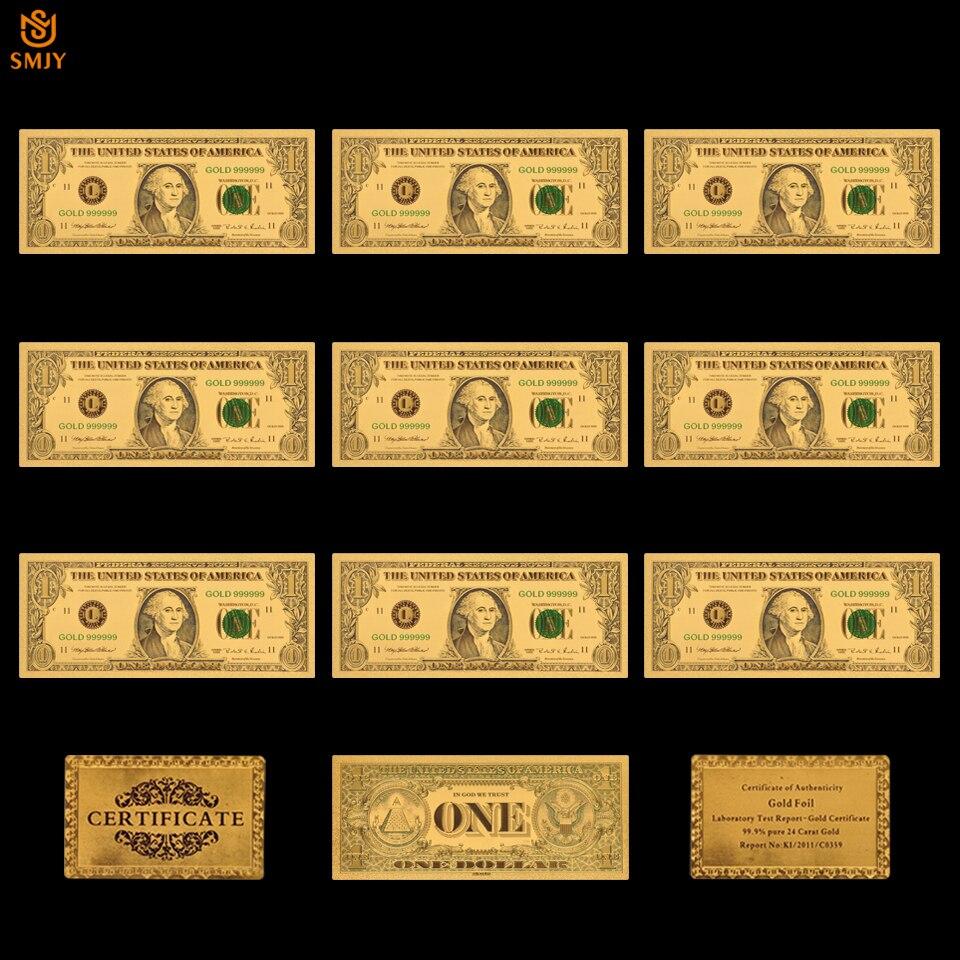 10 Pçs/lote 24k Da Folha de Ouro 1 Coleções Dinheiro de Papel de Notas de Dólar Banhado A Ouro Falso E Presente Do Negócio