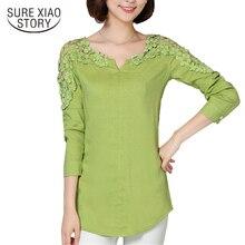 2019 New Camisas Femininas Lace Sleeve Blouse Shirt Women V-Neck Floral Lace Sexy Casual Linen Shirts Plus Size Lady Shirt 185B