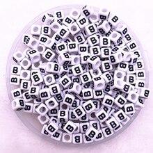 "100 pcs/lot ""B"" Weiß Alphabet/Letter Acryl Cube Perlen Für DIY Schmuck Machen 6 x 6mm (1/4 ""x1/4"")"