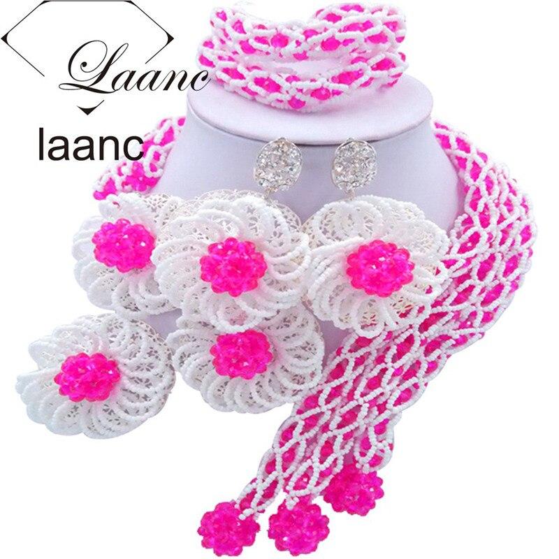 Laanc moda fucsia rosa y blanco flor nigeriana boda Africana cuentas conjunto de joyería de cristal FBFE010