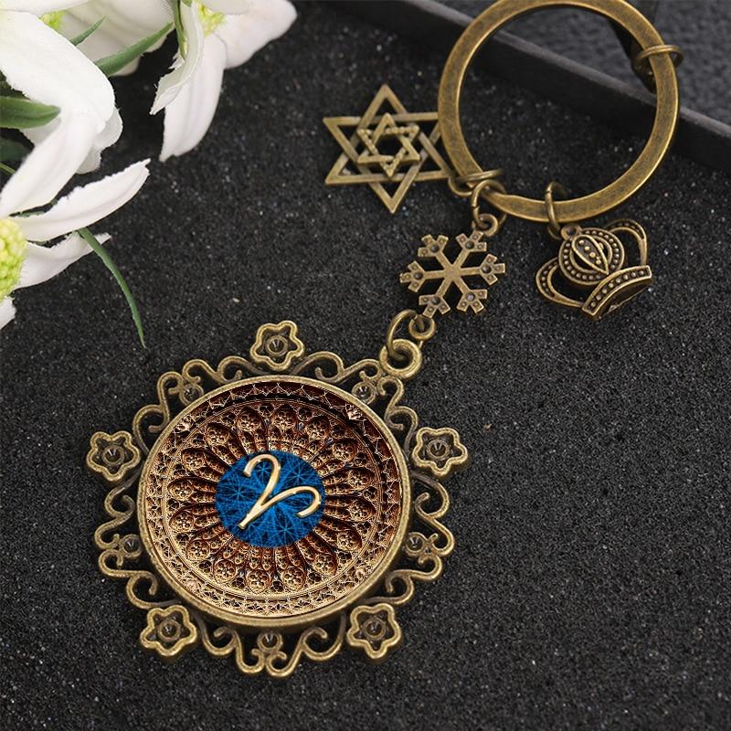 Novo sinal do zodíaco chaveiro 12 constelação taurus leo virgem libra escorpião sagitário vidro pingente chaveiro titular da chave de aniversário