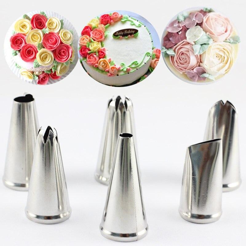 6 unids/set pétalo de rosa hielo tuberías boquillas hoja DIY pastel crema conjunto de boquillas de decoración de acero inoxidable para hornear repostería herramientas