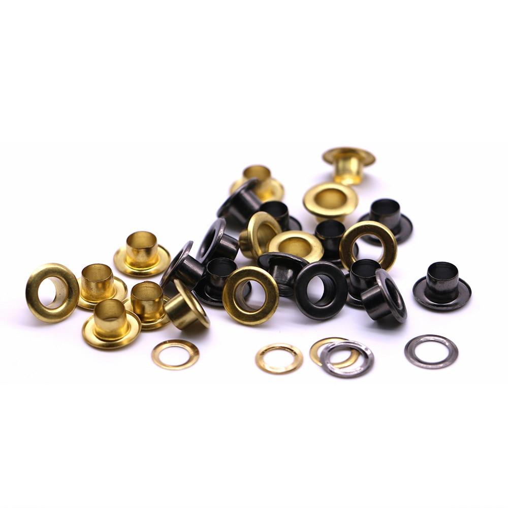 50 jogos/pacote (diâmetro do iner) 4   5   6mm ilhós planos de bronze scrapbooking prata, preto, ouro, ilhós castanhos acessórios para vestuário Q-12