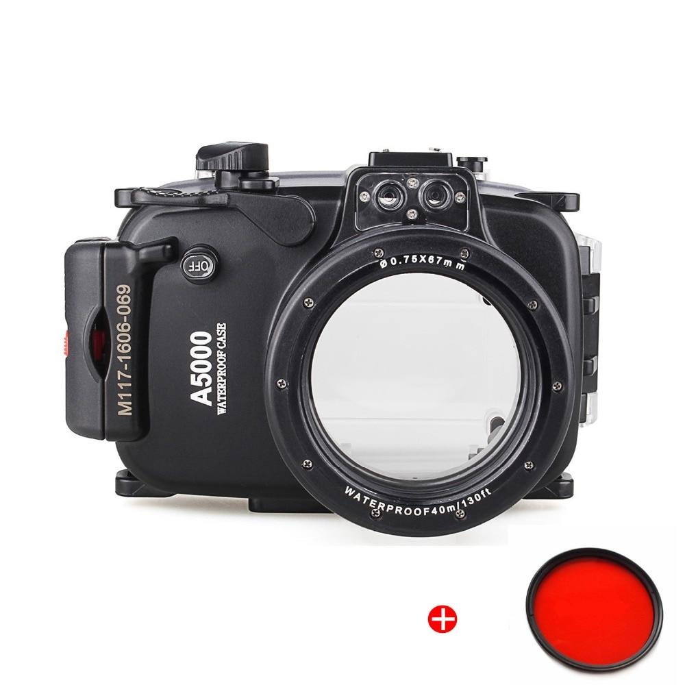 Habitação para Sony Fotografia + Vermelho Meikon Waterproof Mergulho Submarino Câmera Case A5000 16-50mm Filtro 67mm 40 m 130ft