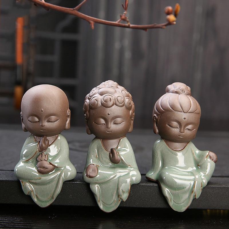 Pequeño Buda creativo estatuas budista Tathagata bonito Buda arena cerámica té mascota accesorios budha ornamentos boutique
