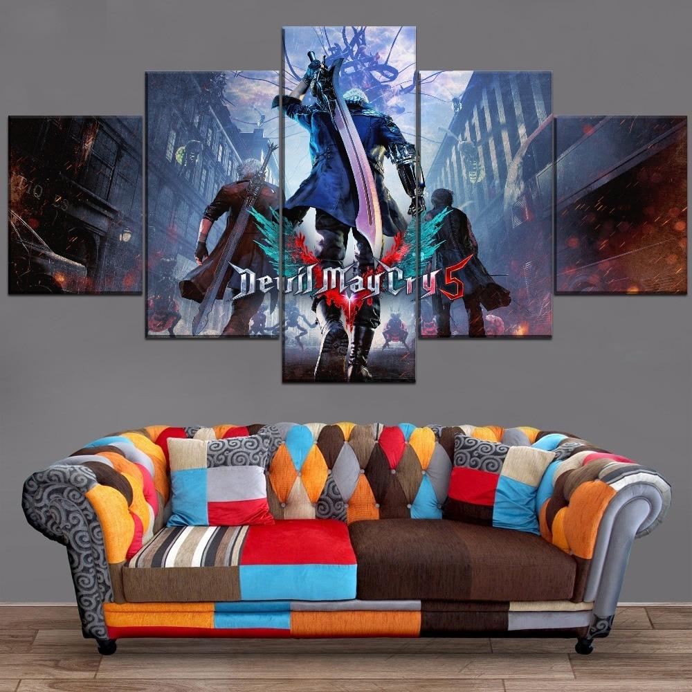 Cuadro moderno de diseño modular con marco de 5 piezas, póster con diseño de cazador de demonios, decoración moderna para el hogar, sala de estar