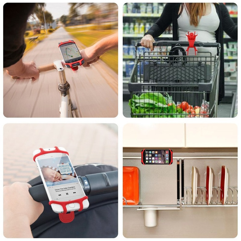 XMXCZKJ Silicone Cell Mobile Phone Holder Bicycle Motorcycle Support Handlebar Mount Accessories Stand For Bike Cellphone GPS enlarge