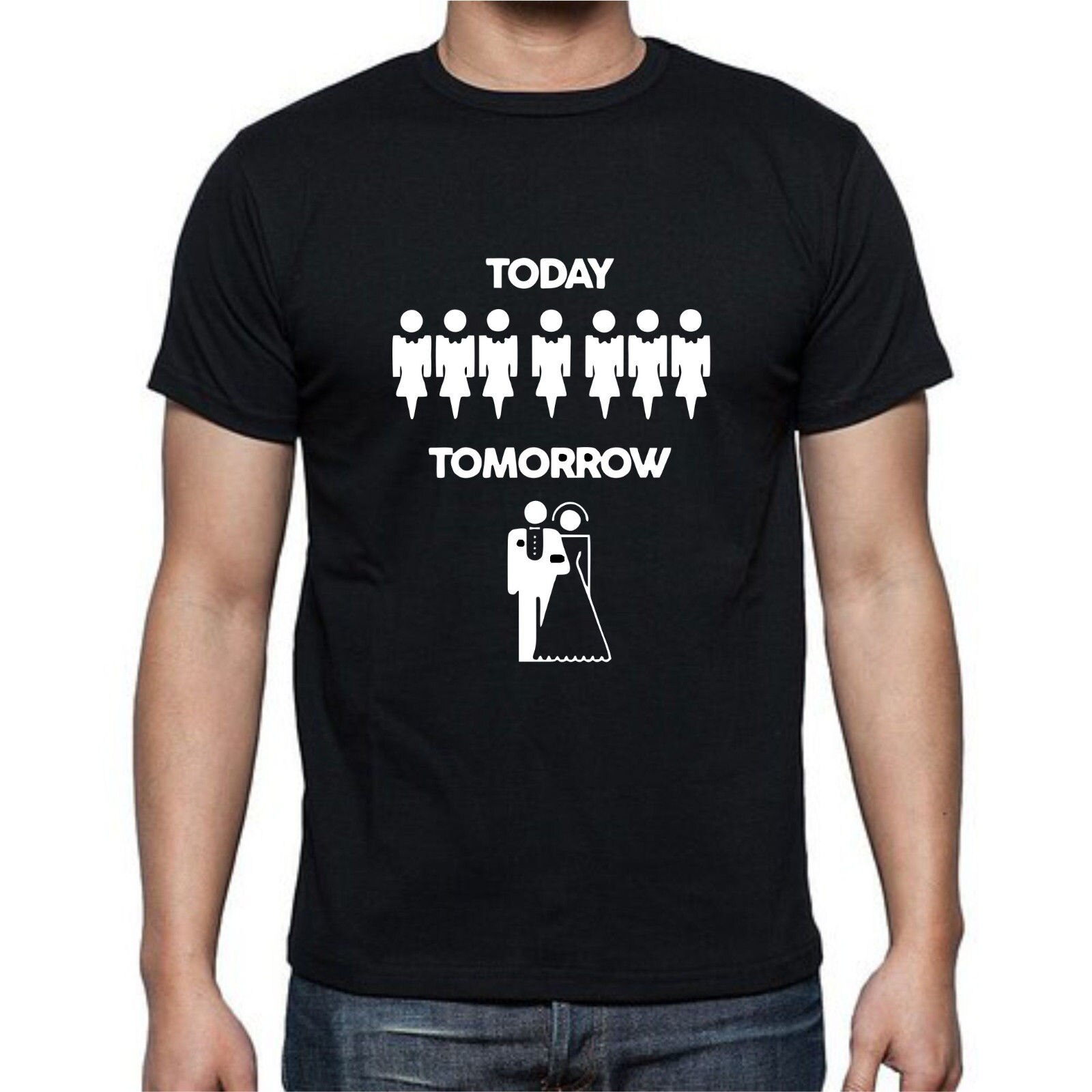 2019 nueva moda Casual hombres camiseta hoy mañana matrimonio despedida de soltera fiesta camiseta