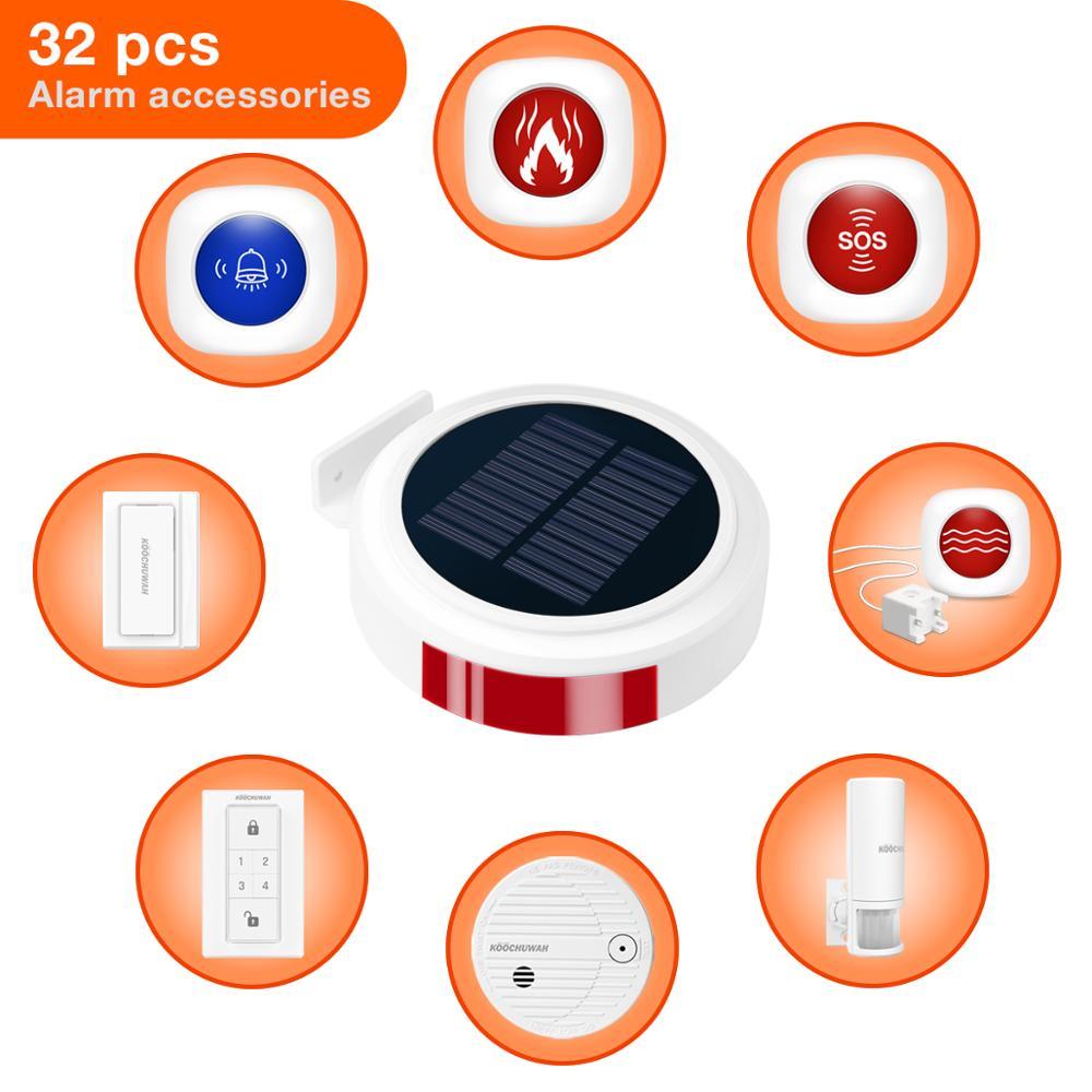 KOOCHUWAH домашняя охранная система s сигнализация солнечная панель GSM сигнализация Беспроводная 868 МГц датчик движения Домашняя безопасность д...