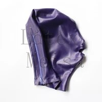 fetish purple head latex hoods open nostrils and mouth attached back zip for adults