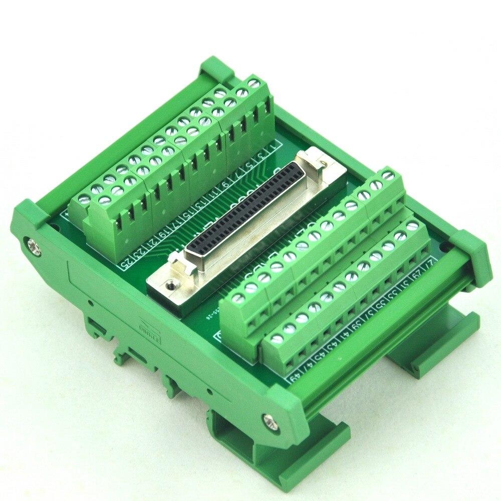 "DIN Rail Mount 50-pin Half-Pitch/0.05 ""Módulo de Interface D-SUB Feminino, DSUB, SCSI"