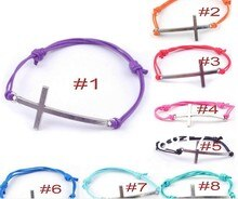 8 Lovely sideways silver cross charm bracelet wax string handmade adjustable bracelets  60pcs/lot  free shipping
