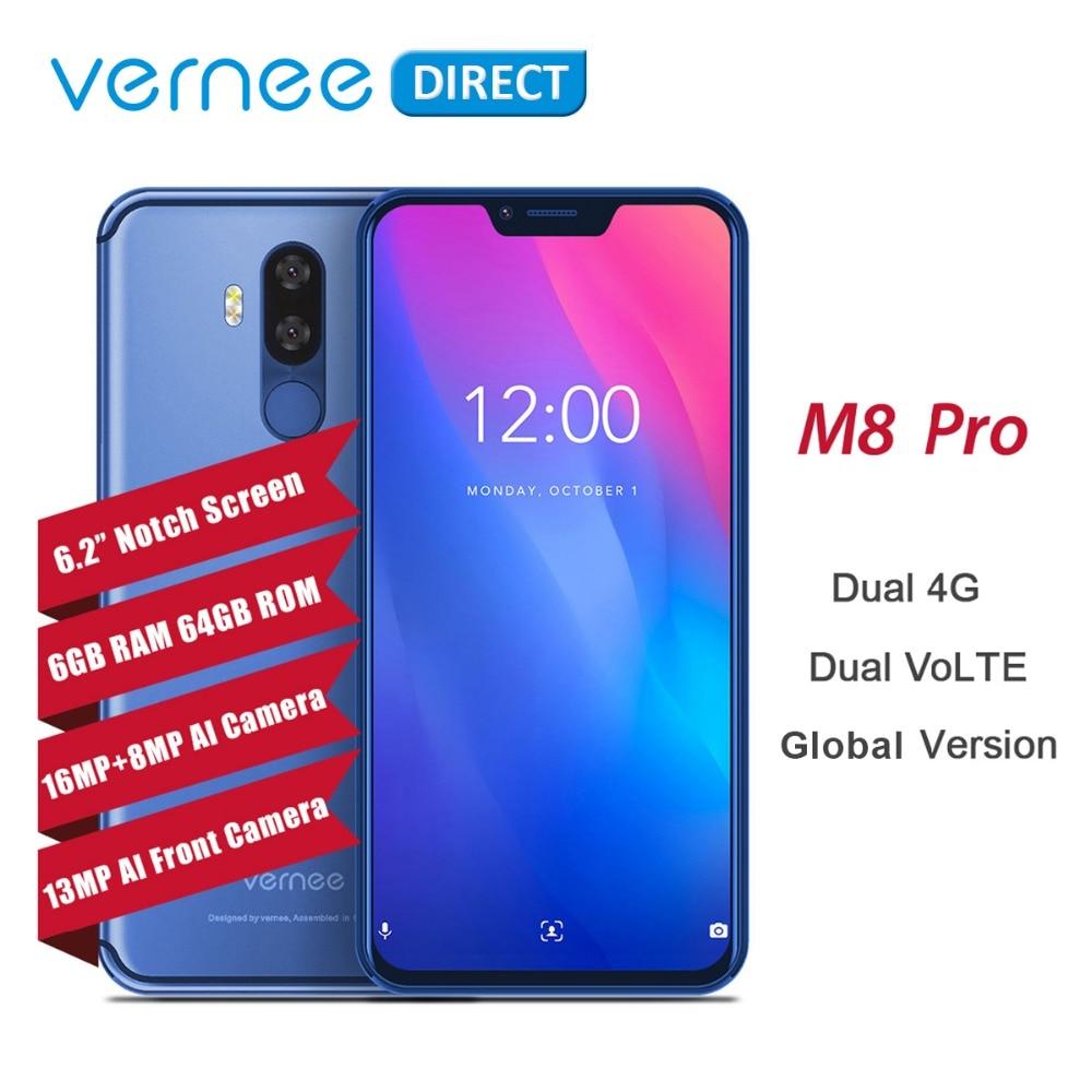 "Vernee M8 Notch Pro pantalla Android 8,1 teléfono móvil 6,2 ""Octa Core AI Cámara 6 GB + 64 GB 4100 mAh carga inalámbrica NFC 4G Smartphone"