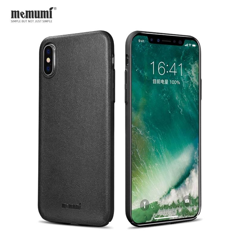 Genuine Leather for iPhone X Ultra thin Case Hard Back Cover for iPhone X Slim Case for iPhone x Funda Capa memumi