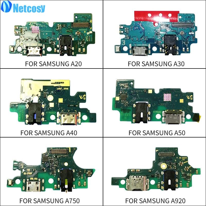 Puerto de carga USB Netcosy, piezas de recambio de cable FLEX de placa de conector Dock Jack para Samsung Galaxy A20 A30 A40 A50 A750 A920