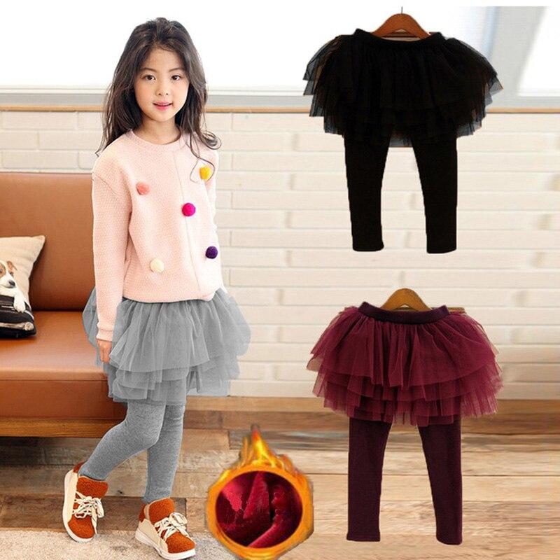 Otoño Invierno chicas Leggings Fleece falda cálida-pantalones estilo coreano chicas pastel falda pantalones Tutu 2-11 años RT321