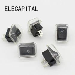 5 шт./лот, черный кнопочный мини-переключатель 6A-10A 110 в 250 В, 2-контактный кнопочный переключатель включения/выключения, 21 мм * 15 мм с водонепроницаемой крышкой, черный