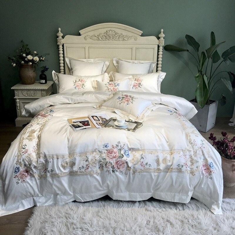 800tc algodão egípcio luxo bordado branco conjunto de cama rainha king size capa edredon capa cama folha conjunto parure de lit