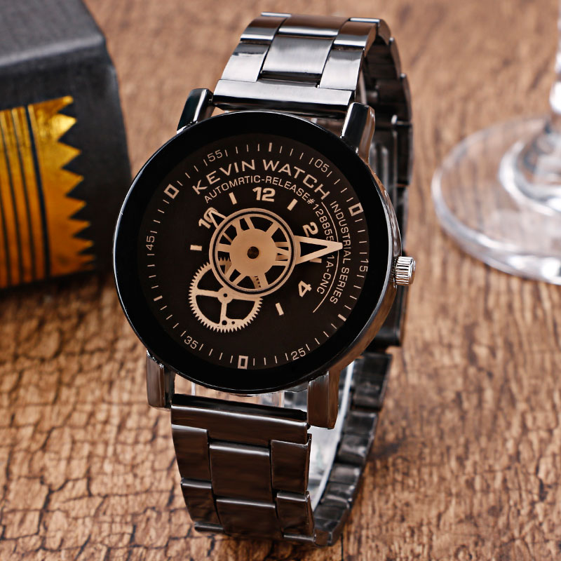 2017 New Arrival Elegant Gear Quartz Wrist Watch Women Black/Sandy Beige Dial Stainless Steel Strap Gift for Christmas W225401