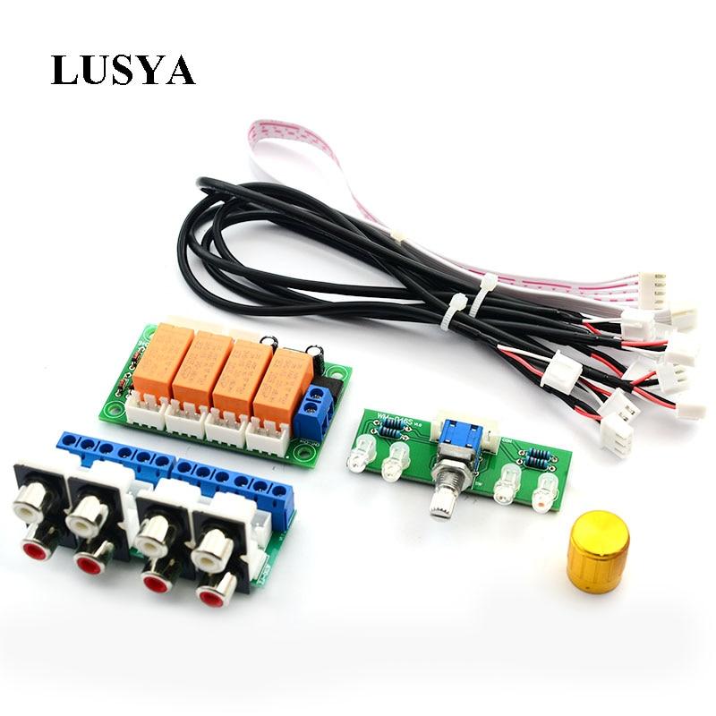 Lusya Relay 4-way Audio Input Signal Selector Switching RCA Audio Switch Input Selection finished Board B9-002