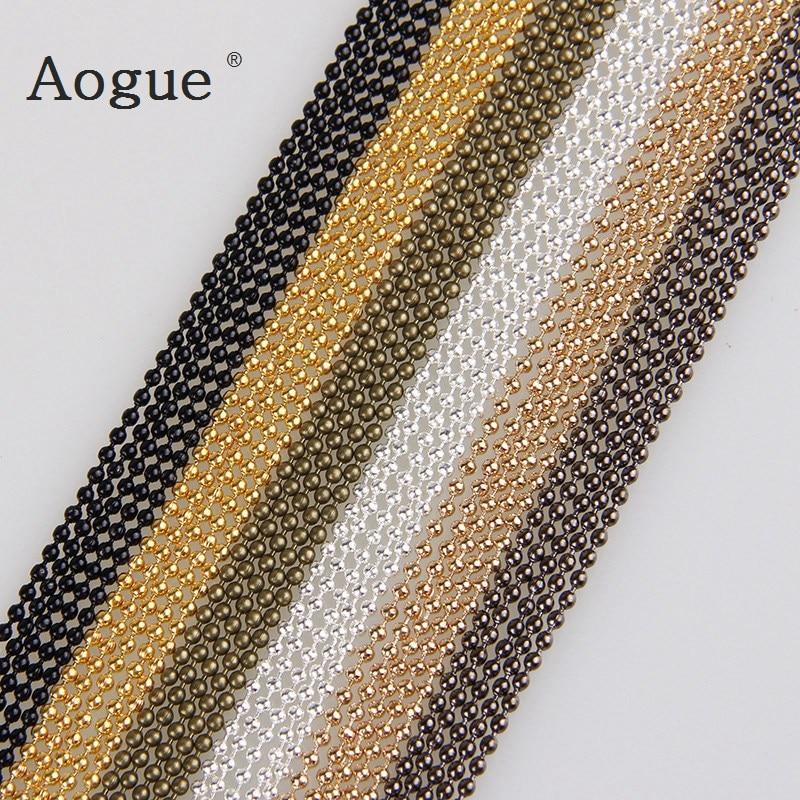 Металлические Шариковые цепи, 5 м/лот, 1,5 мм, 7 цветов, железные цепи для самостоятельного изготовления ювелирных изделий