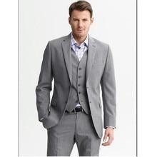 Custom Made Light Gray Men Wedding Suits Notch Lapel Groom Tuxedos Slim Fit Wedding Party Prom Men Suits(Jacket+Pant+Vest)