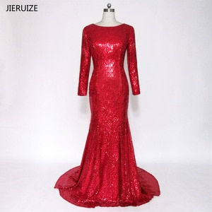 JIERUIZE Long Sleeves Backless Red Prom Dresses Low Back Mermaid Long Evening Party Dresses Ballkleider robe de soiree