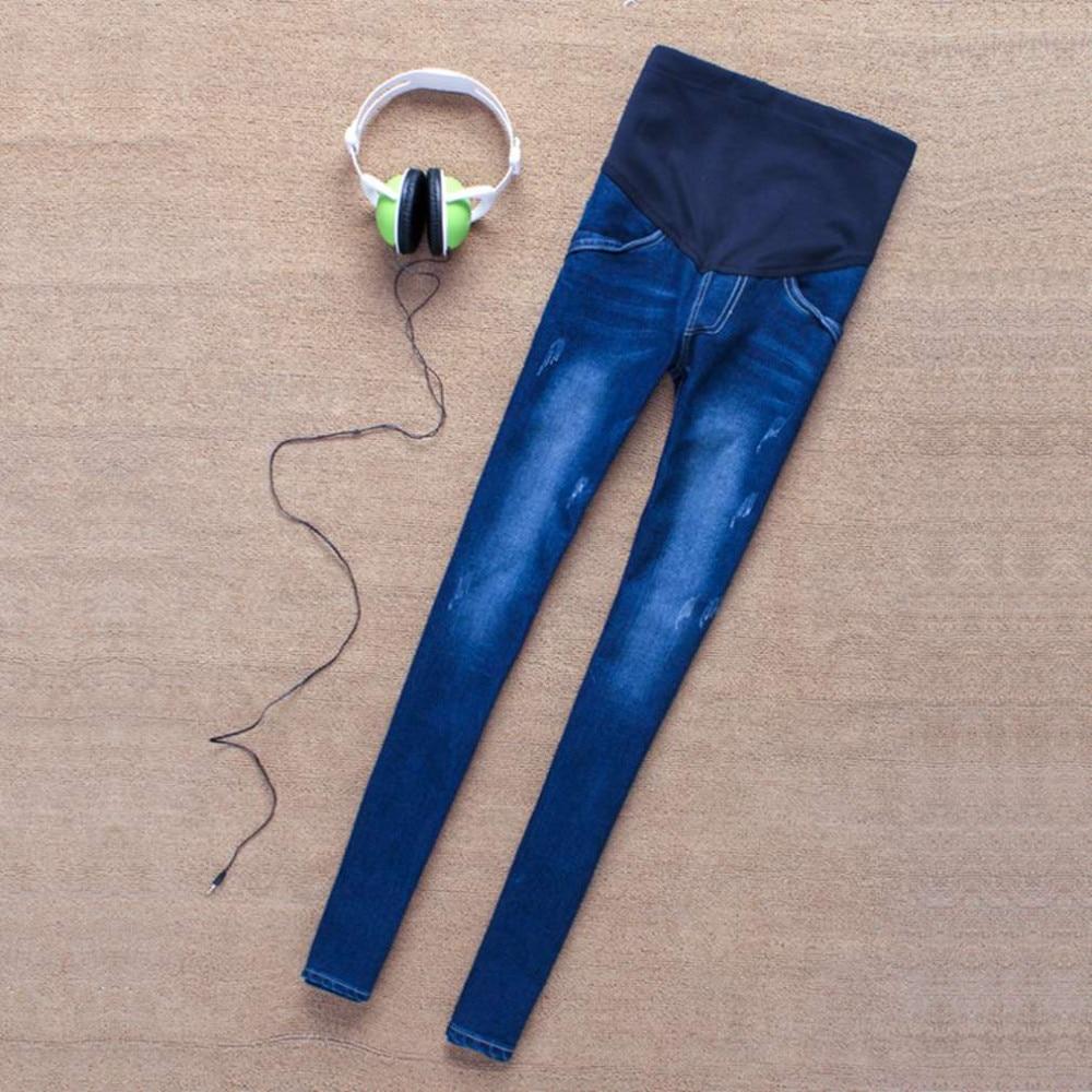 100% Brand New Fashion i Stylowe Kobiety W Ciąży Elastyczna Elastyczna Bawełna Jeans Denim Ołówek Spodnie Ciążowe Spodnie 3