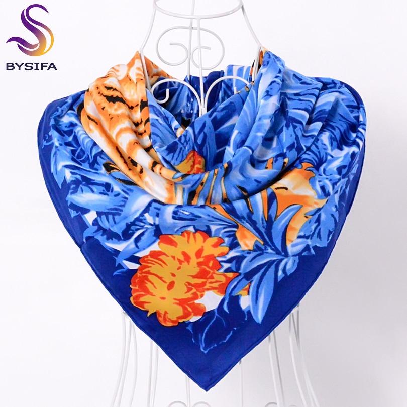 [BYSIFA] синий и коричневый женский шелковый шарф, шаль, обертывания 90*90 см, женские осенне-зимние большие квадратные шарфы, Турция, головной пла...