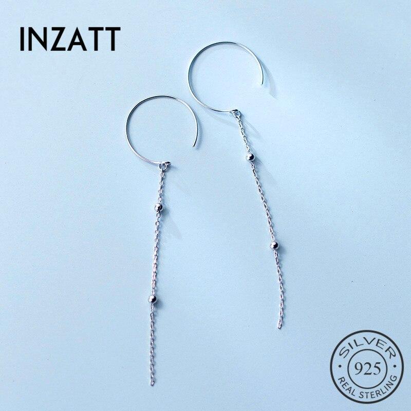 INZATT, pendientes de aro con flecos de cadena larga con cuentas de Plata de Ley 925 auténtica, joyería de moda de estilo bohemio, pendiente elegante para mujer, 2018