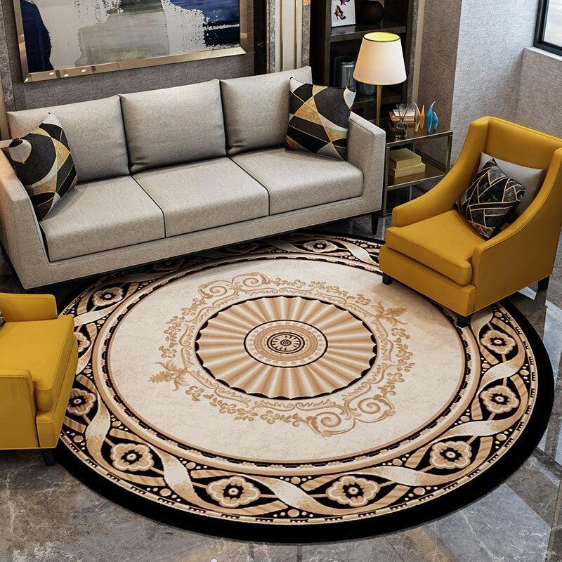 سجادة دائرية كبيرة لغرفة المعيشة ، غرفة نوم أوروبية عصرية ، أريكة ، طاولة قهوة ، غرفة دراسة ناعمة ، مرحاض