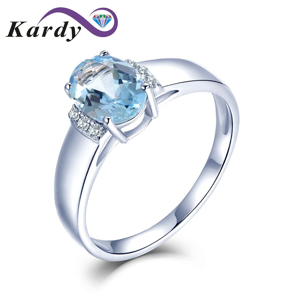 طقم خاتم من الذهب الأبيض عيار 14 قيراط مرصع بالألماس الزبرجد الأزرق الطبيعي للنساء