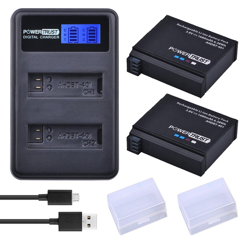 2Pcs 1680mAh AHDBT-401 AHDBT 401 AHDBT401 digitale Batteria per Gopro Hero 4 + LCD USB Doppio Caricatore Per goPro Hero 4 Hero 4 Della Macchina Fotografica