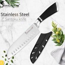 SOWOLL cuchillo de acero inoxidable de 7 pulgadas, cuchillo para Chef Santoku, cuchillo de cocina profesional, cuchillo de carnicero, herramientas de cocina
