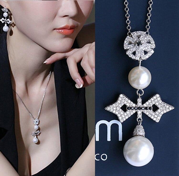 Qualidade superior Bonito da Flor Cruz Pearl Pendant Necklace Mulheres Collares 2016, moda Cor Prata Preenchido Zirco Jóias Femininas