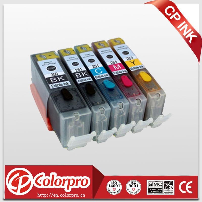 Freies verschiffen 5PK PGI 250 CLI 251 Essbare tinte patrone für Canon Pixma IP7220 IX6820 MG5420 MG5422 MG5520 MG5522 MG5620