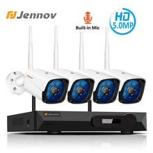 Jennov-caméra vidéo Audio sans fil   4CH, 5 mp, Kit de caméras NVR, système de caméra de sécurité CCTV, caméra IP WiFi H.265, caméra IP dextérieur IP66