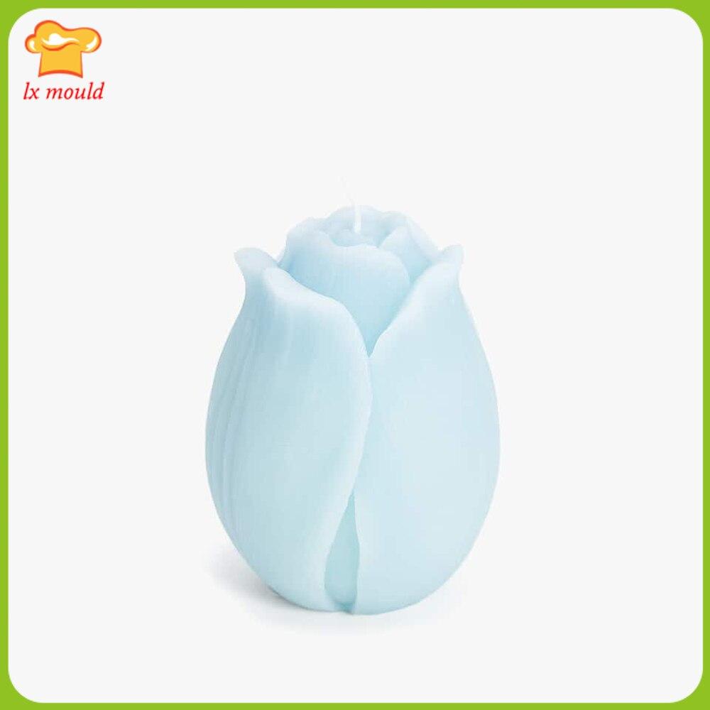 2019 nuevo molde LX flor Bud molde de vela jabón de aromaterapia molde de silicona de tulipán